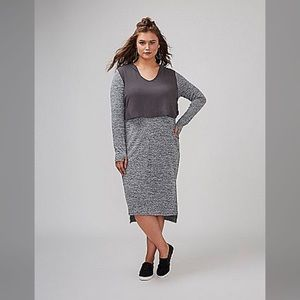 Lane Bryant Dresses - LANE BRYANT Hooded Athleisure Dress